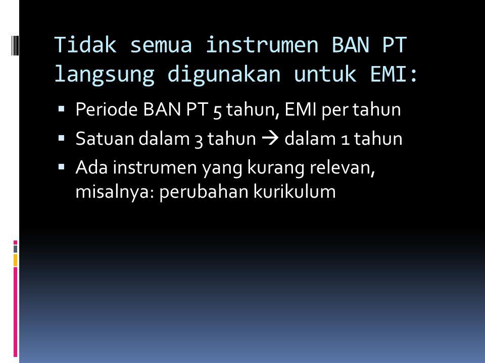 Tidak semua instrumen BAN PT langsung digunakan untuk EMI: