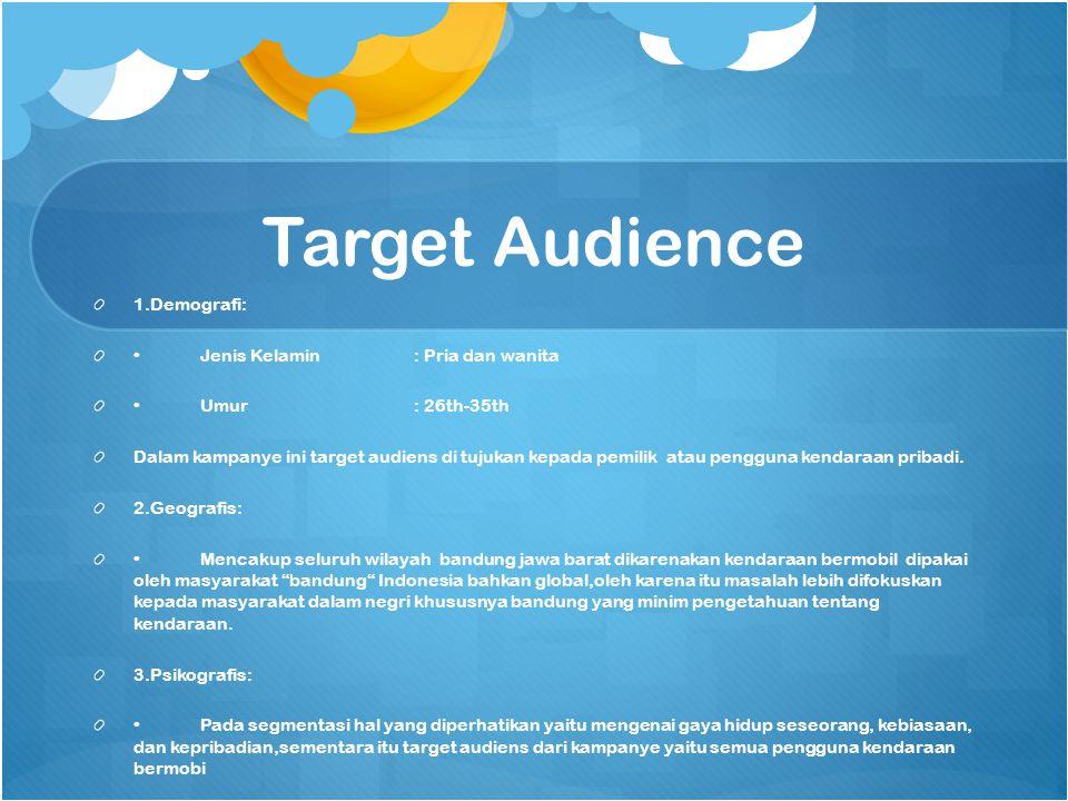 Target Audience 1.Demografi: • Jenis Kelamin : Pria dan wanita