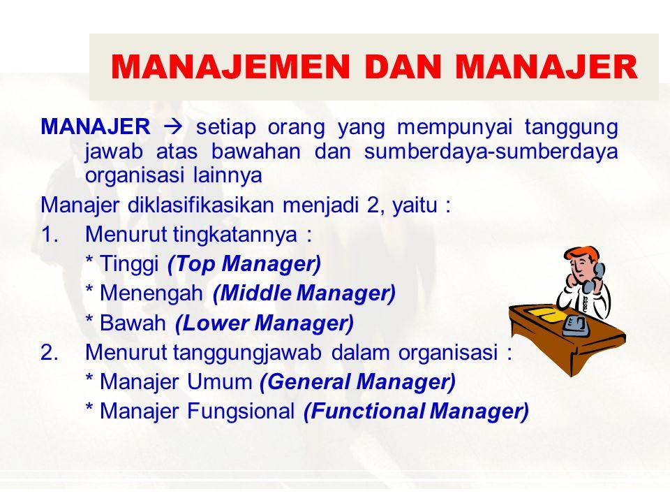 MANAJEMEN DAN MANAJER MANAJER  setiap orang yang mempunyai tanggung jawab atas bawahan dan sumberdaya-sumberdaya organisasi lainnya.