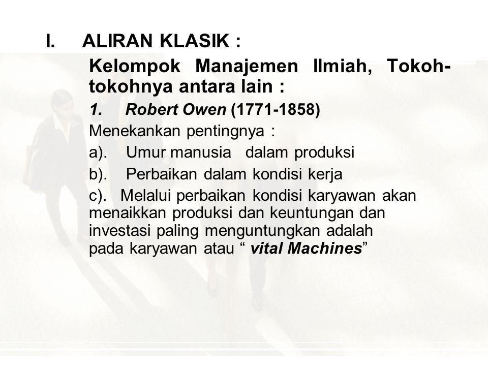 Kelompok Manajemen Ilmiah, Tokoh-tokohnya antara lain :