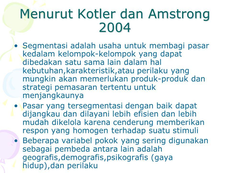 Menurut Kotler dan Amstrong 2004