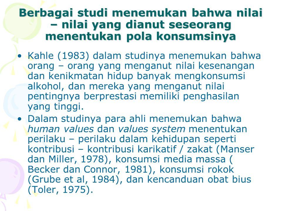Berbagai studi menemukan bahwa nilai – nilai yang dianut seseorang menentukan pola konsumsinya