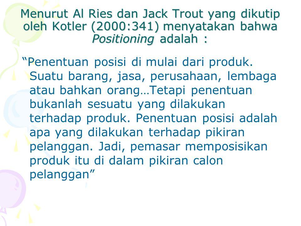 Menurut Al Ries dan Jack Trout yang dikutip oleh Kotler (2000:341) menyatakan bahwa Positioning adalah :