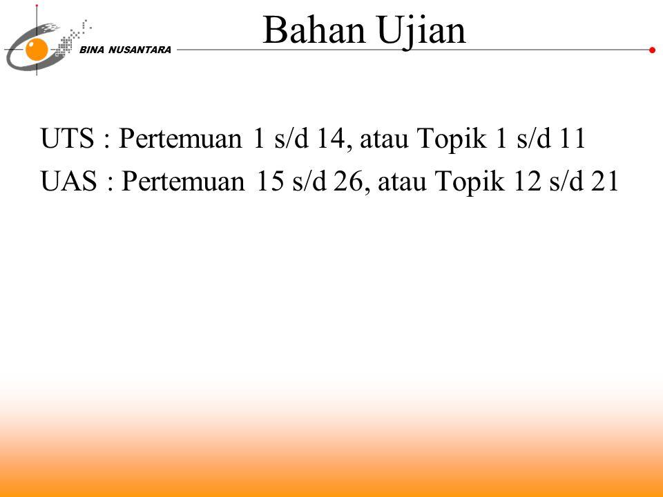 Bahan Ujian UTS : Pertemuan 1 s/d 14, atau Topik 1 s/d 11