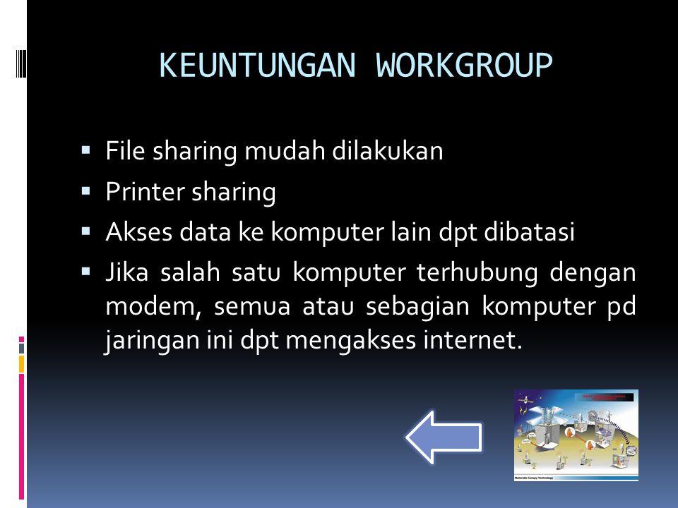 KEUNTUNGAN WORKGROUP File sharing mudah dilakukan Printer sharing