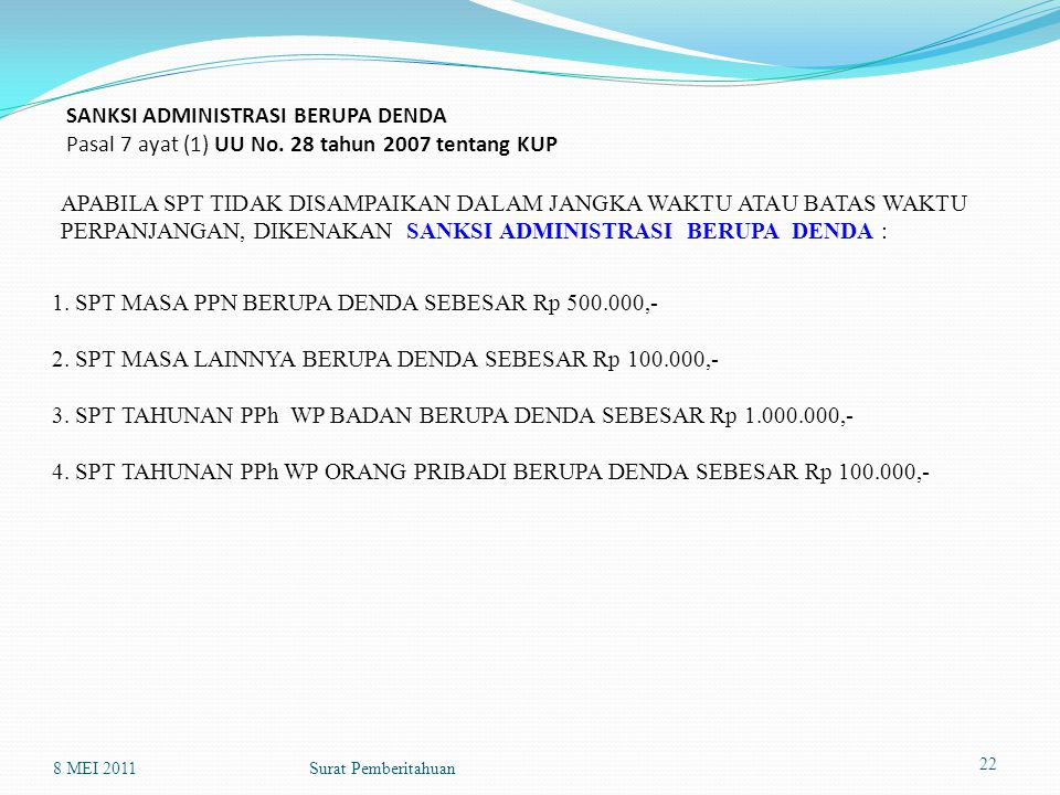 1. SPT MASA PPN BERUPA DENDA SEBESAR Rp 500.000,-