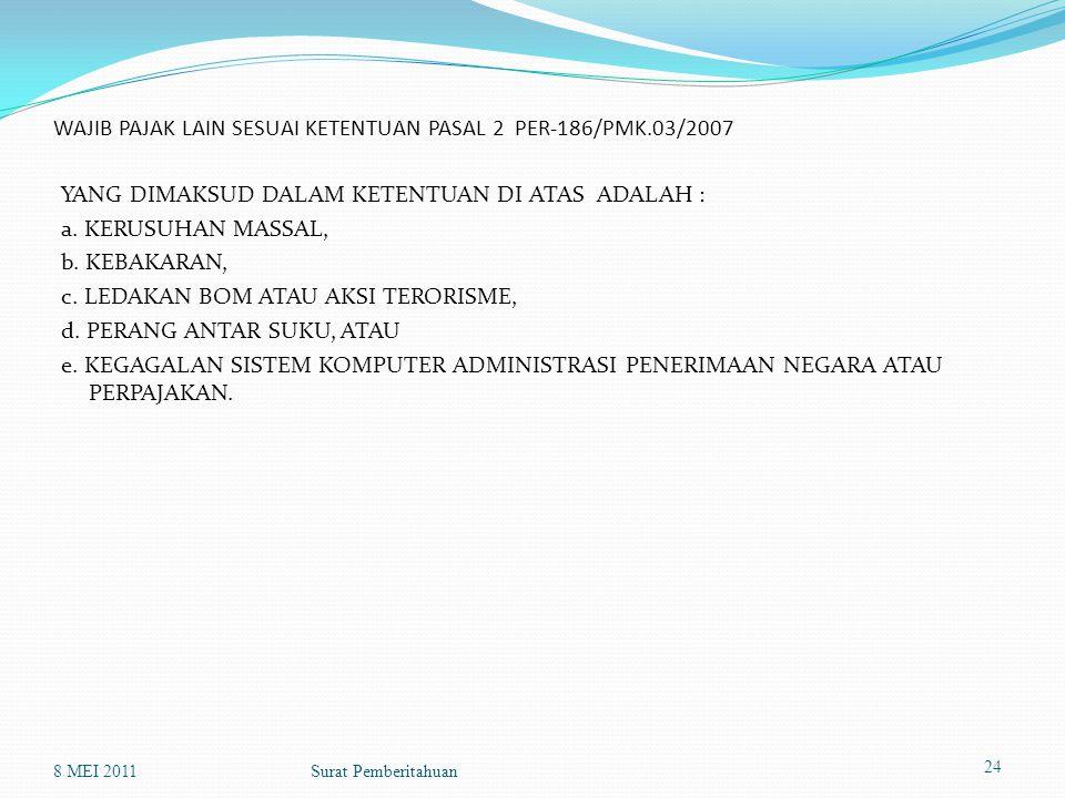 WAJIB PAJAK LAIN SESUAI KETENTUAN PASAL 2 PER-186/PMK.03/2007