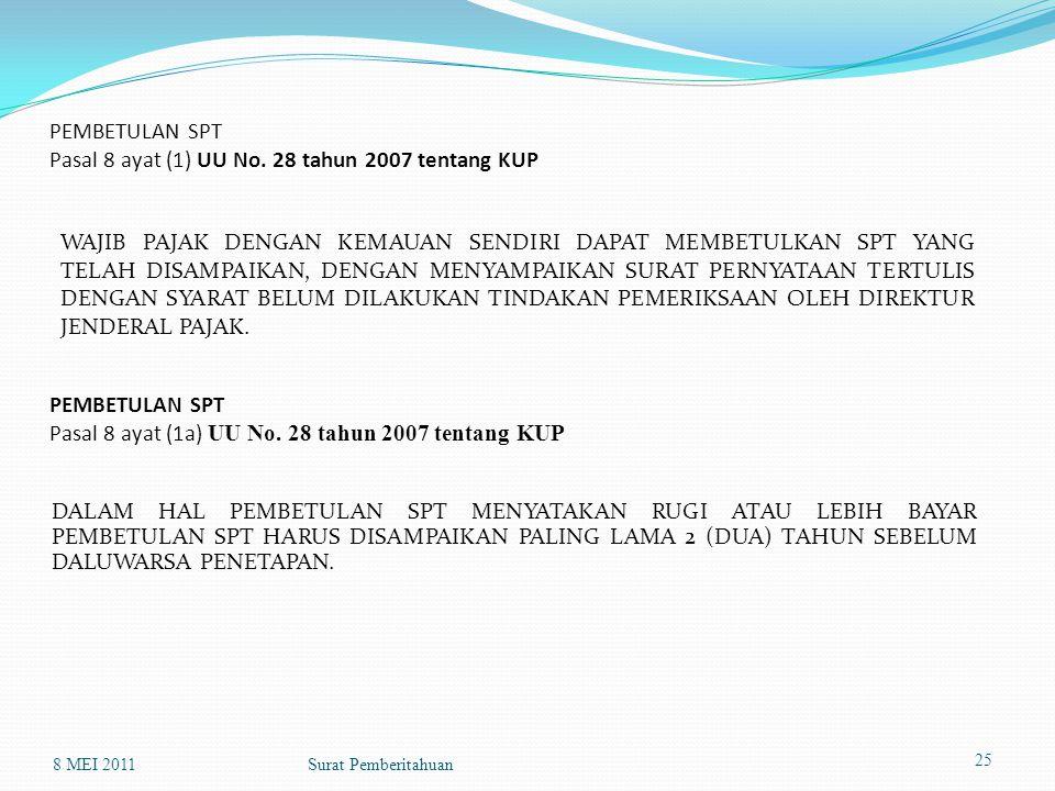 PEMBETULAN SPT Pasal 8 ayat (1) UU No. 28 tahun 2007 tentang KUP