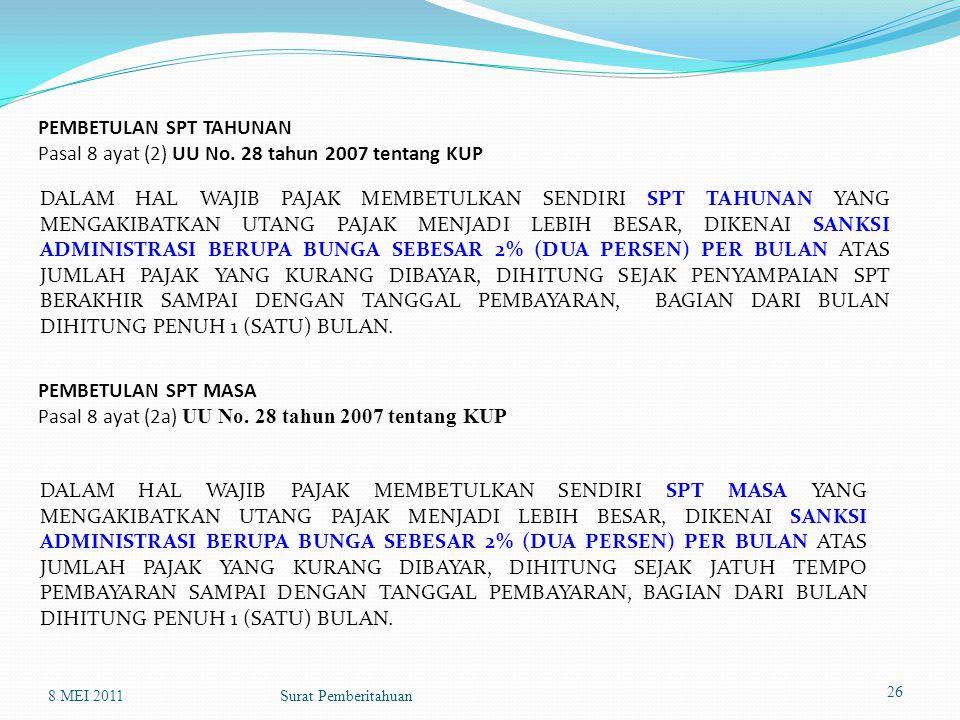PEMBETULAN SPT MASA Pasal 8 ayat (2a) UU No. 28 tahun 2007 tentang KUP