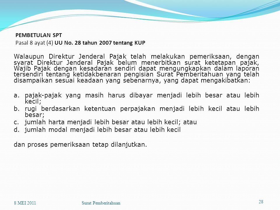 PEMBETULAN SPT Pasal 8 ayat (4) UU No. 28 tahun 2007 tentang KUP