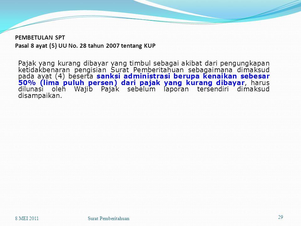 PEMBETULAN SPT Pasal 8 ayat (5) UU No. 28 tahun 2007 tentang KUP