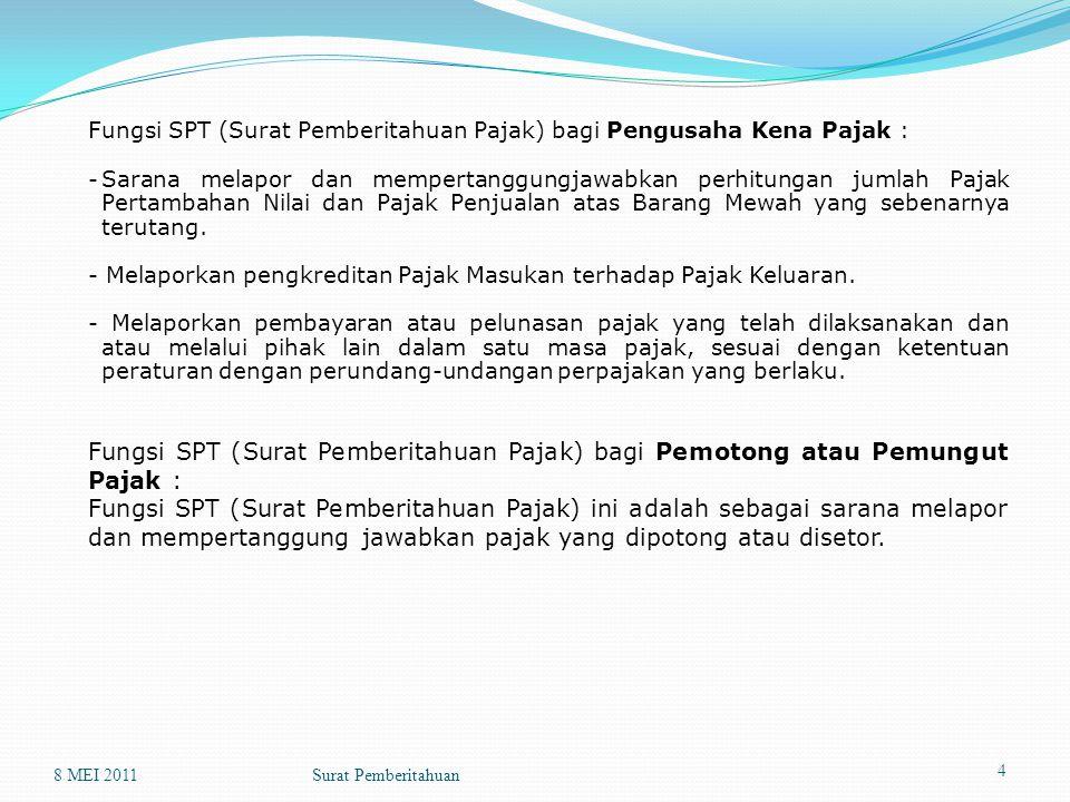 Fungsi SPT (Surat Pemberitahuan Pajak) bagi Pengusaha Kena Pajak :