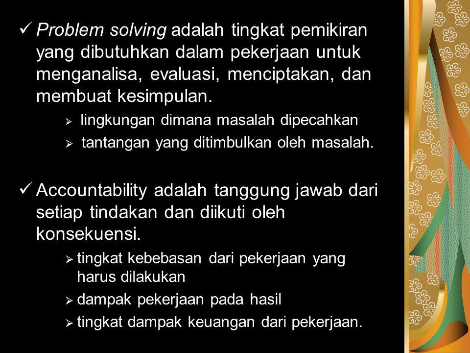Problem solving adalah tingkat pemikiran yang dibutuhkan dalam pekerjaan untuk menganalisa, evaluasi, menciptakan, dan membuat kesimpulan.