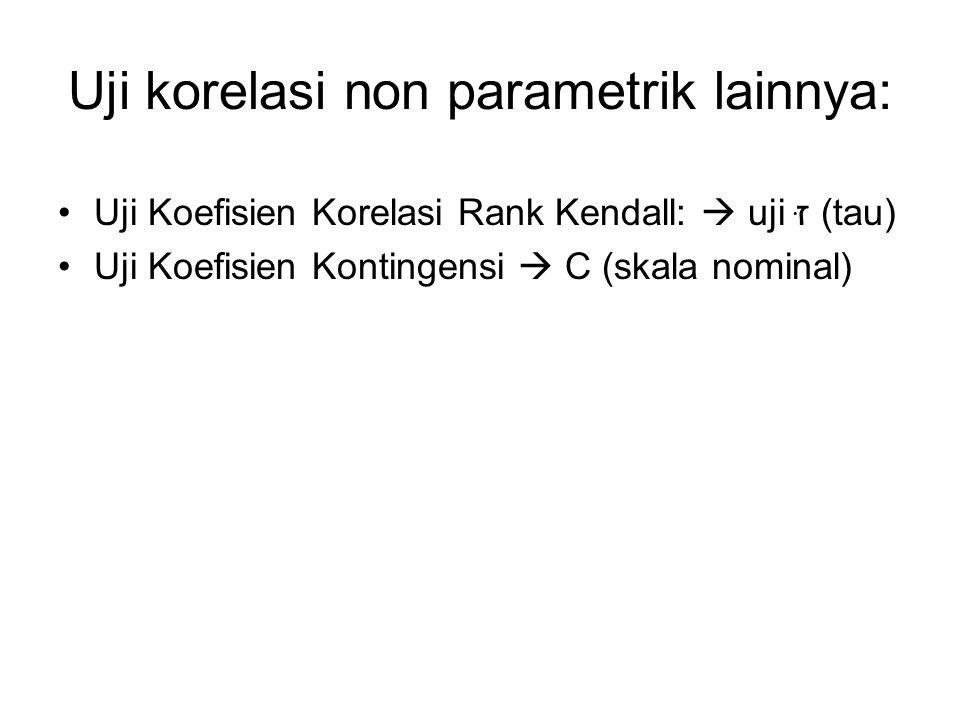 Uji korelasi non parametrik lainnya: