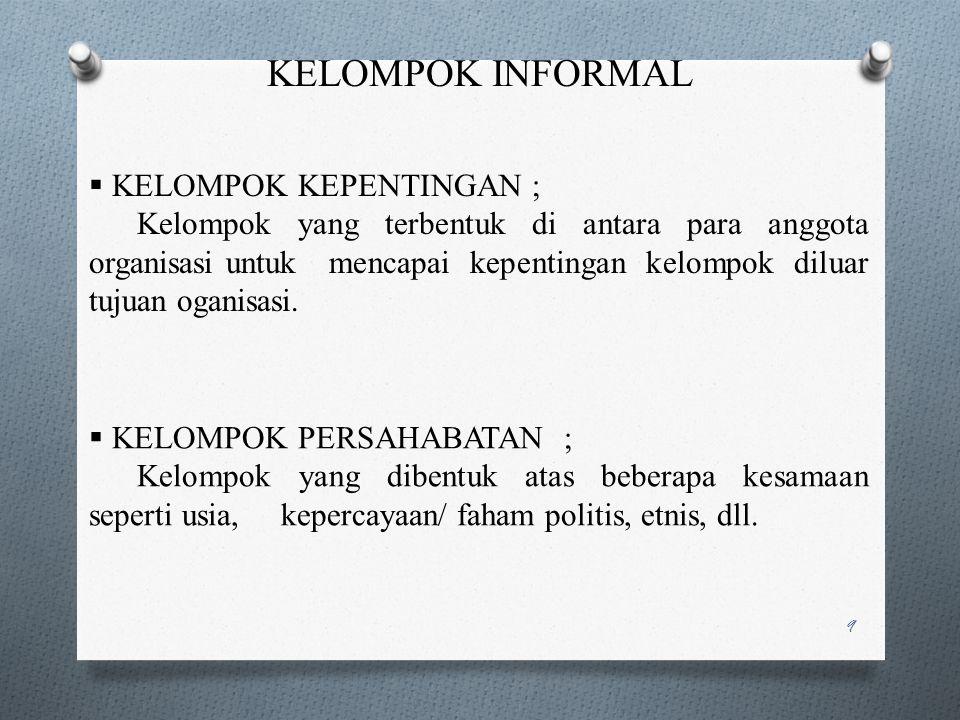 KELOMPOK INFORMAL KELOMPOK KEPENTINGAN ;