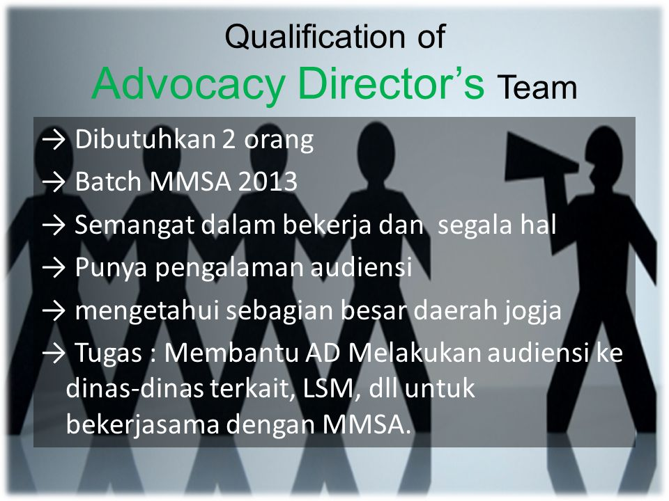 Qualification of Advocacy Director's Team