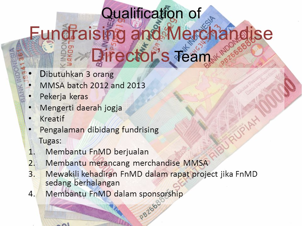 Qualification of Fundraising and Merchandise Director's Team