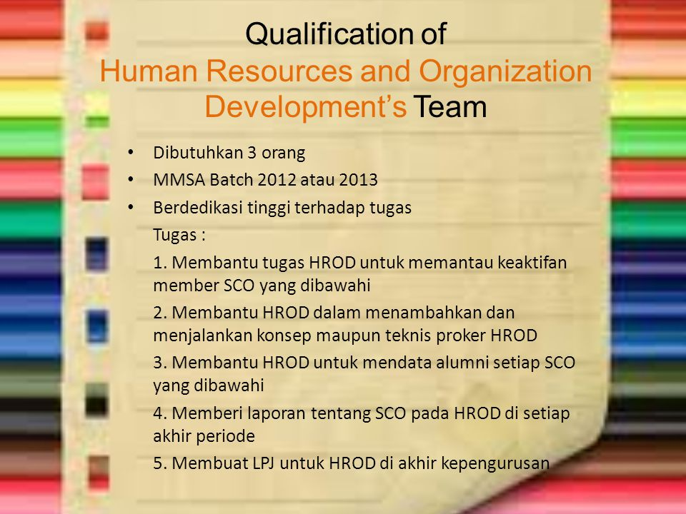 Qualification of Human Resources and Organization Development's Team