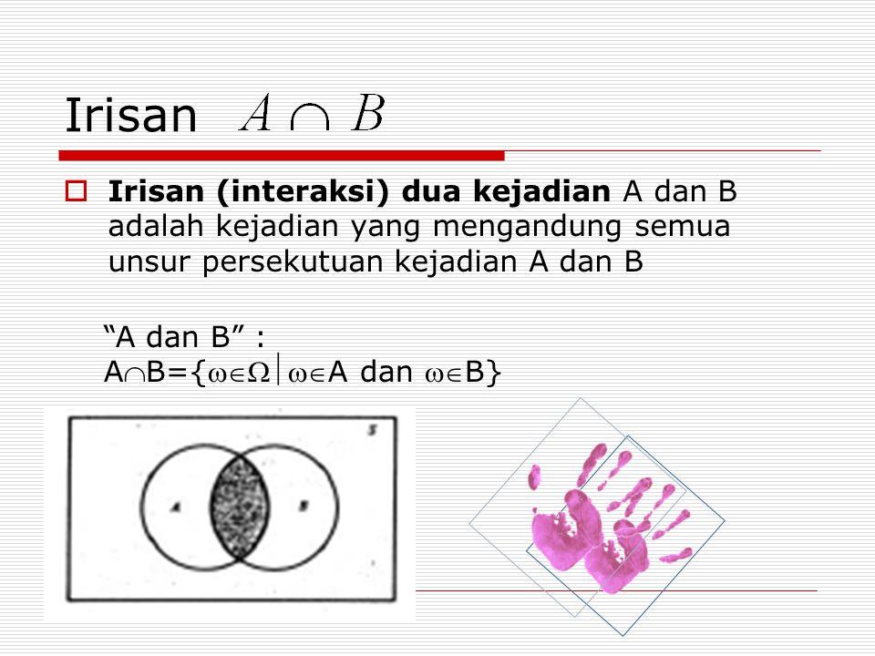 Irisan Irisan (interaksi) dua kejadian A dan B adalah kejadian yang mengandung semua unsur persekutuan kejadian A dan B.