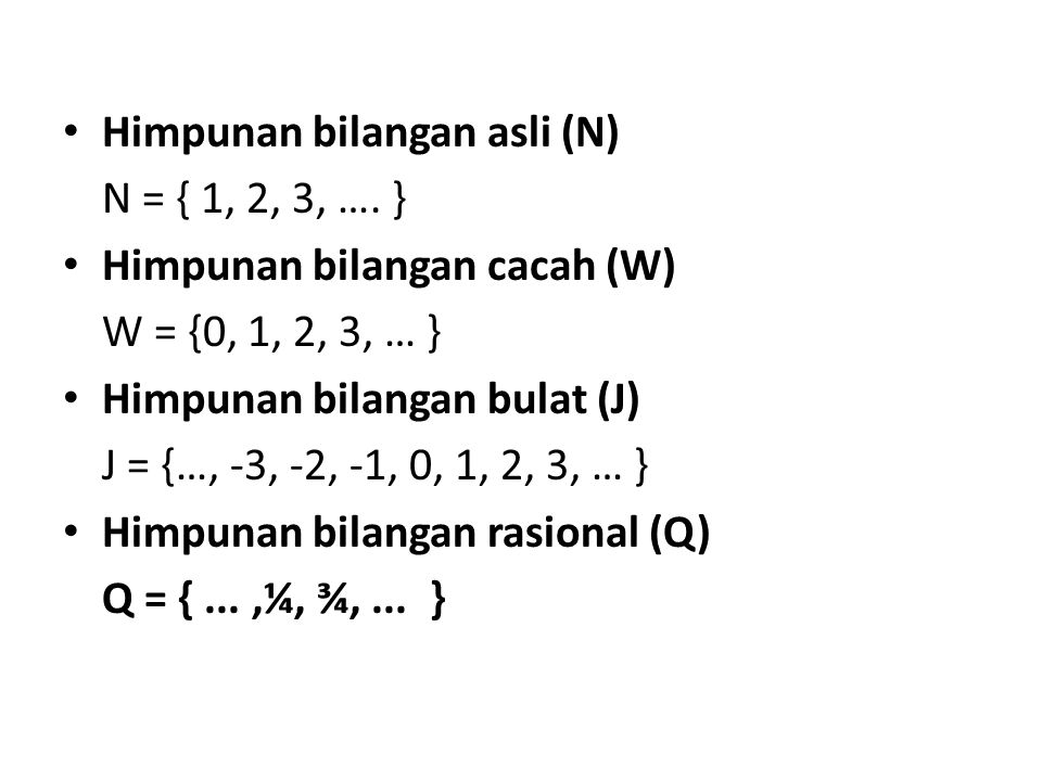 Himpunan bilangan asli (N)