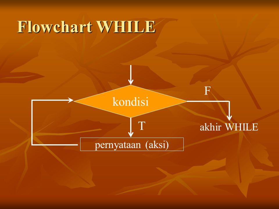Flowchart WHILE F kondisi T akhir WHILE pernyataan (aksi)