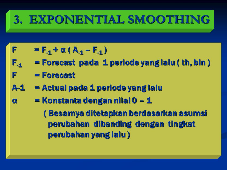 3. EXPONENTIAL SMOOTHING