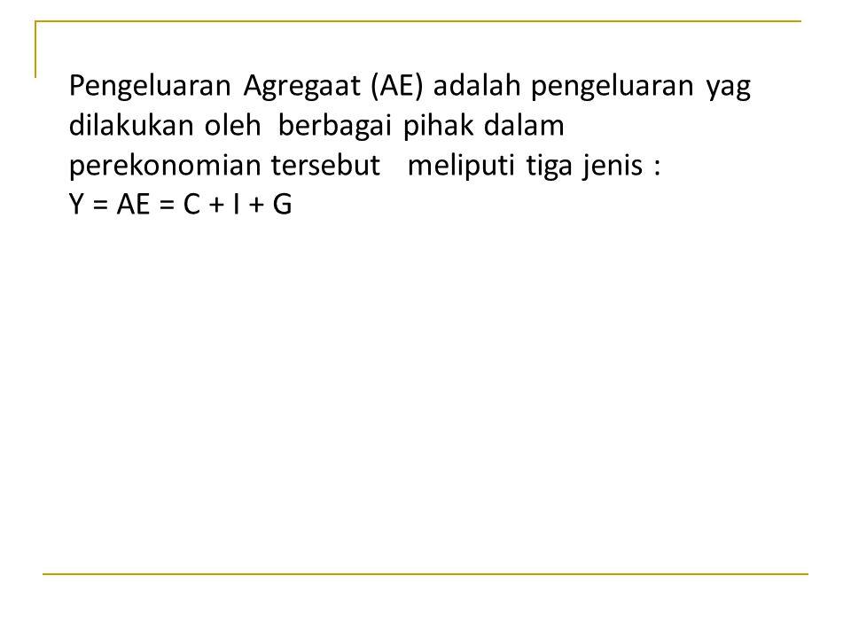 Pengeluaran Agregaat (AE) adalah pengeluaran yag dilakukan oleh berbagai pihak dalam perekonomian tersebut meliputi tiga jenis :