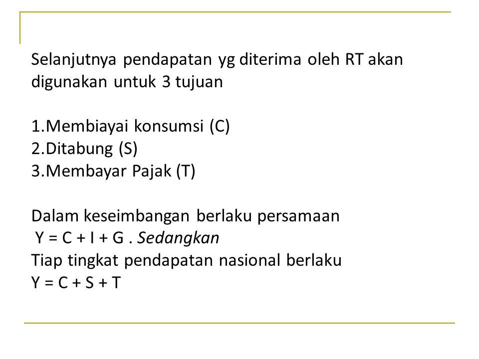 Selanjutnya pendapatan yg diterima oleh RT akan digunakan untuk 3 tujuan