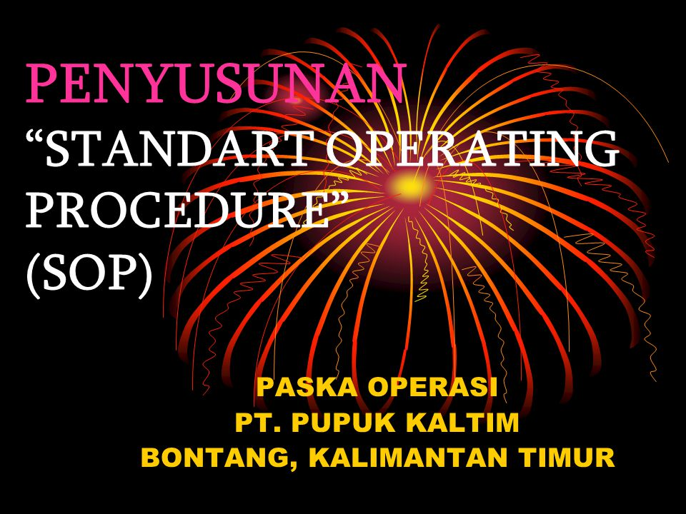 PENYUSUNAN STANDART OPERATING PROCEDURE (SOP)