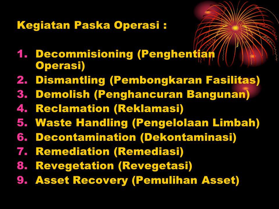 Kegiatan Paska Operasi :