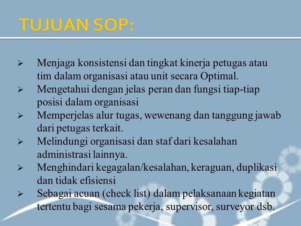 TUJUAN SOP: Menjaga konsistensi dan tingkat kinerja petugas atau tim dalam organisasi atau unit secara Optimal.