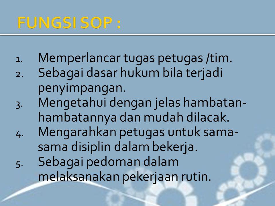 FUNGSI SOP : Memperlancar tugas petugas /tim.
