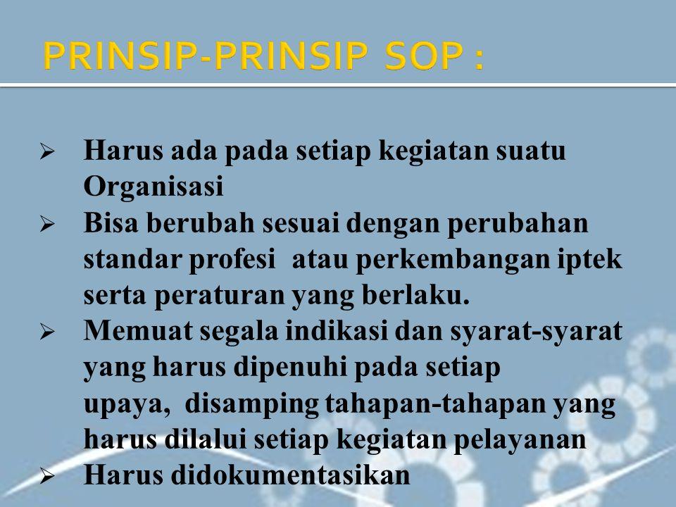 PRINSIP-PRINSIP SOP : Harus ada pada setiap kegiatan suatu Organisasi