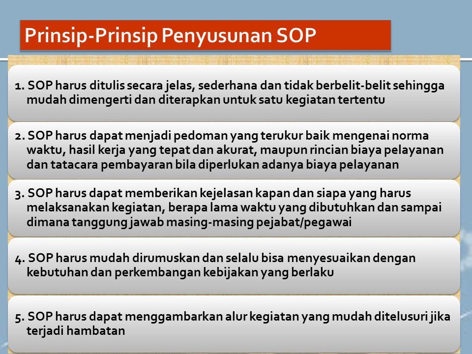 Prinsip-Prinsip Penyusunan SOP