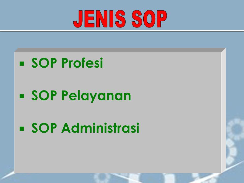 JENIS SOP SOP Profesi SOP Pelayanan SOP Administrasi