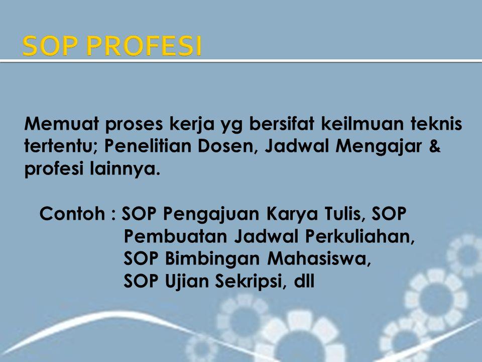 SOP PROFESI Memuat proses kerja yg bersifat keilmuan teknis tertentu; Penelitian Dosen, Jadwal Mengajar & profesi lainnya.
