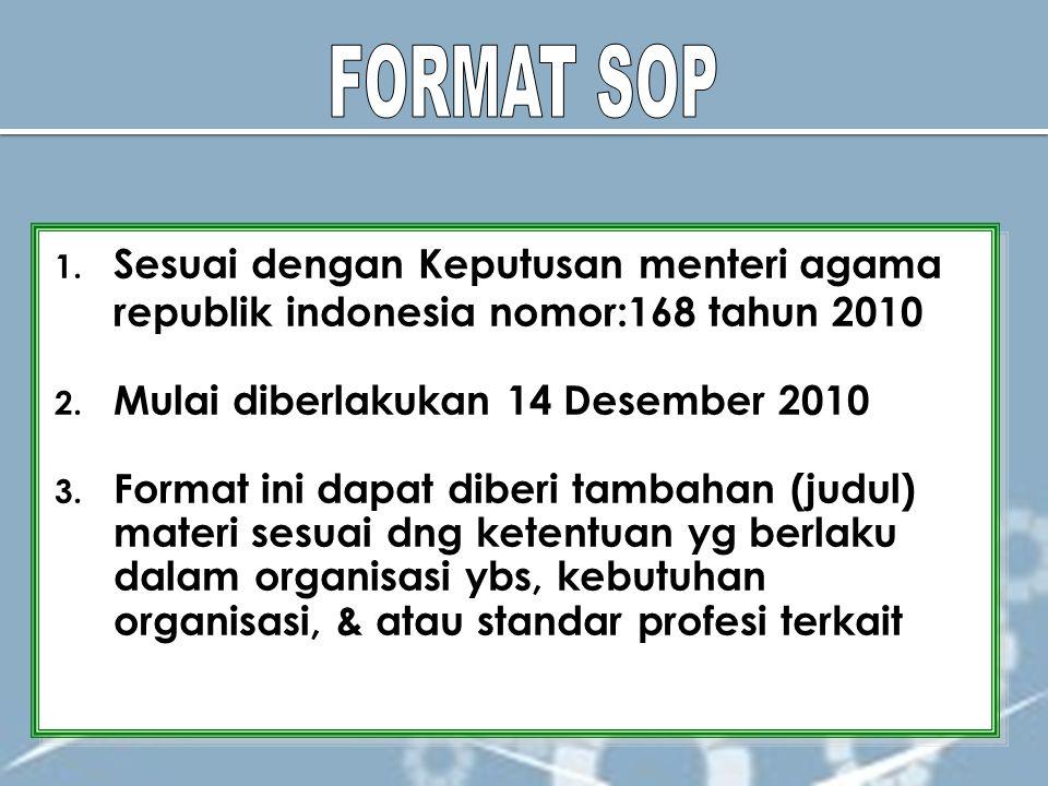 FORMAT SOP Sesuai dengan Keputusan menteri agama republik indonesia nomor:168 tahun 2010. Mulai diberlakukan 14 Desember 2010.