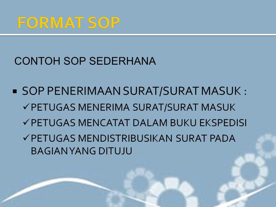 FORMAT SOP SOP PENERIMAAN SURAT/SURAT MASUK : CONTOH SOP SEDERHANA