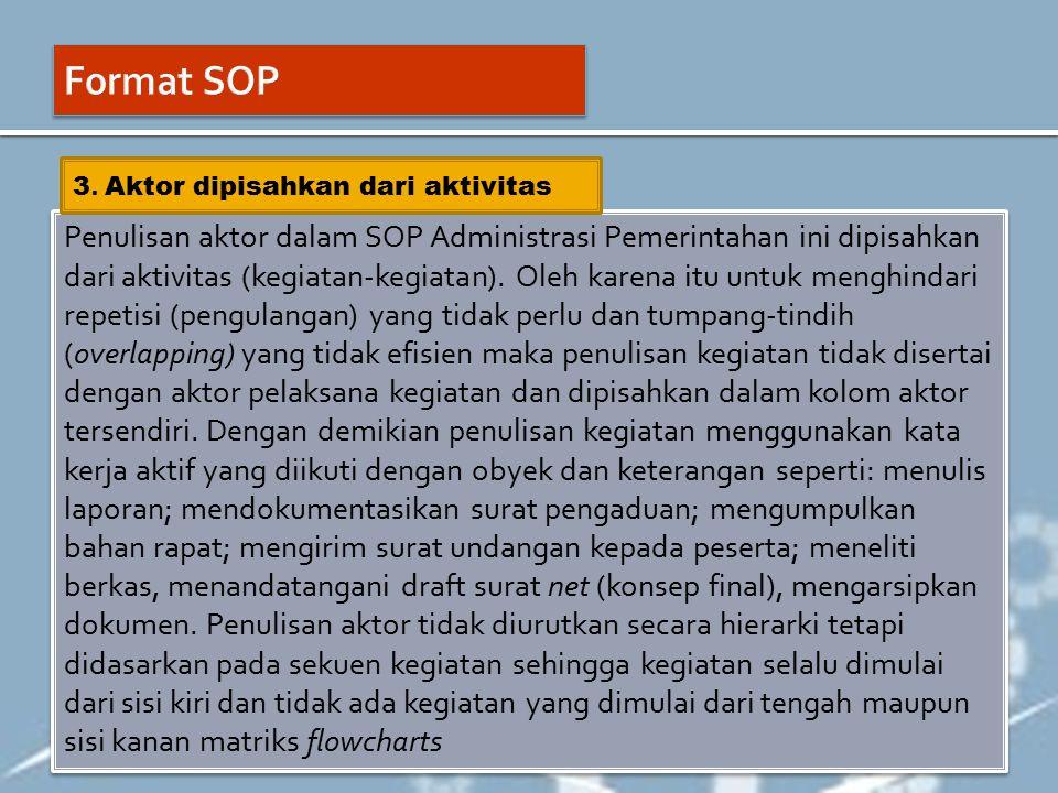 Format SOP 3. Aktor dipisahkan dari aktivitas.