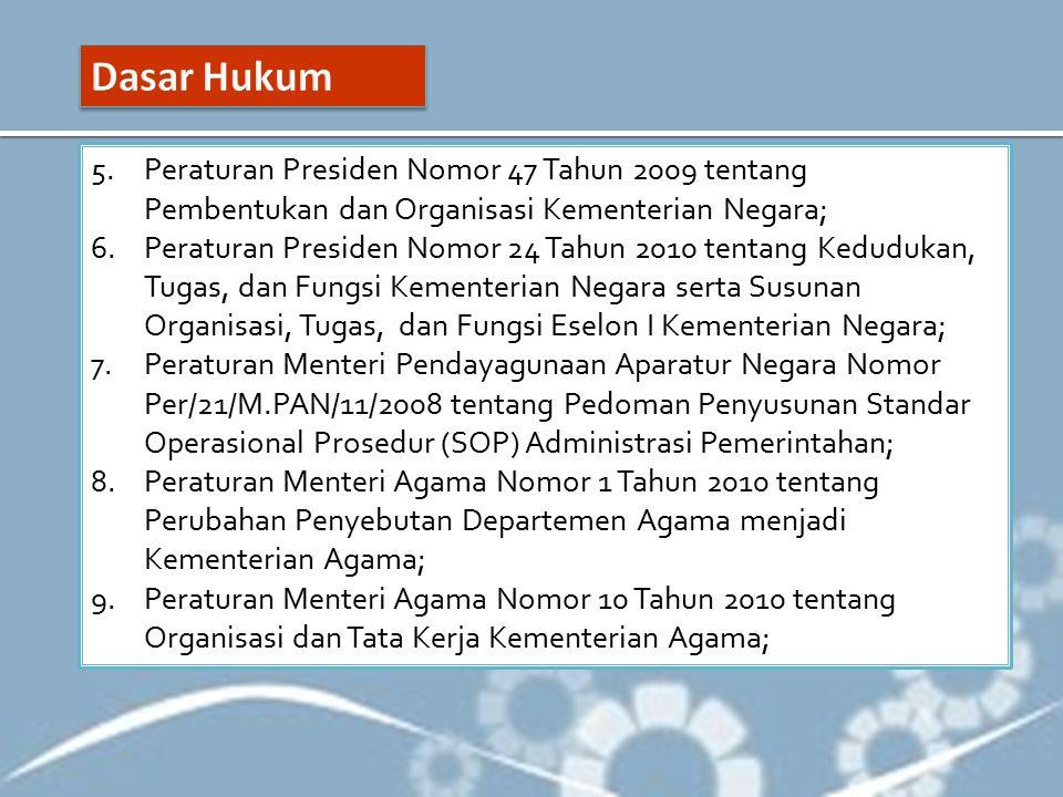 Dasar Hukum Peraturan Presiden Nomor 47 Tahun 2009 tentang Pembentukan dan Organisasi Kementerian Negara;