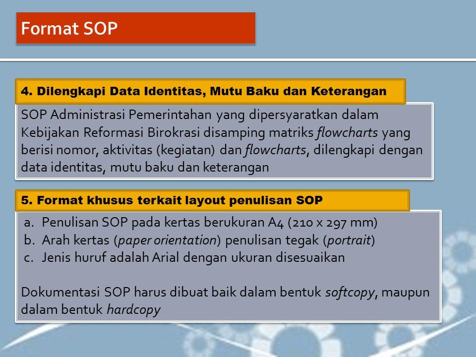 Format SOP 4. Dilengkapi Data Identitas, Mutu Baku dan Keterangan.
