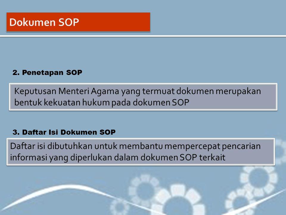 Dokumen SOP 2. Penetapan SOP. Keputusan Menteri Agama yang termuat dokumen merupakan bentuk kekuatan hukum pada dokumen SOP.