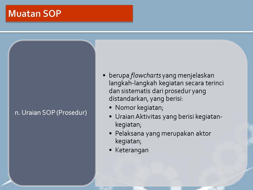 Muatan SOP berupa flowcharts yang menjelaskan langkah-langkah kegiatan secara terinci dan sistematis dari prosedur yang distandarkan, yang berisi: