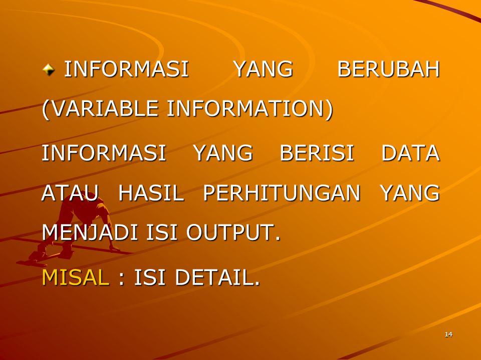 INFORMASI YANG BERUBAH (VARIABLE INFORMATION)