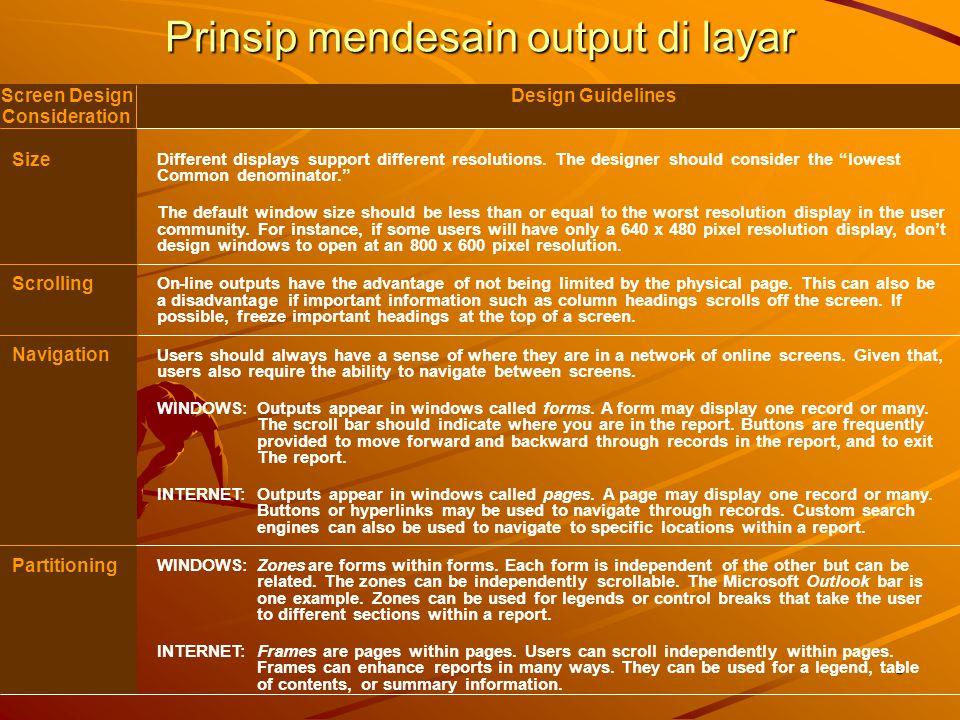 Prinsip mendesain output di layar