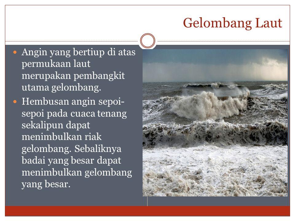 Gelombang Laut Angin yang bertiup di atas permukaan laut merupakan pembangkit utama gelombang.