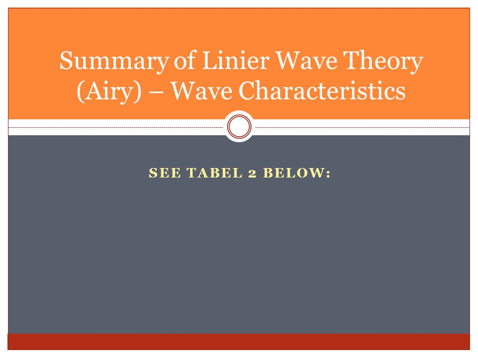 Summary of Linier Wave Theory (Airy) – Wave Characteristics