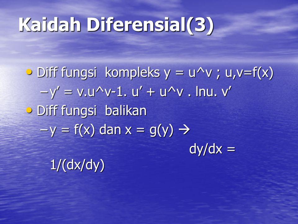 Kaidah Diferensial(3) Diff fungsi kompleks y = u^v ; u,v=f(x)