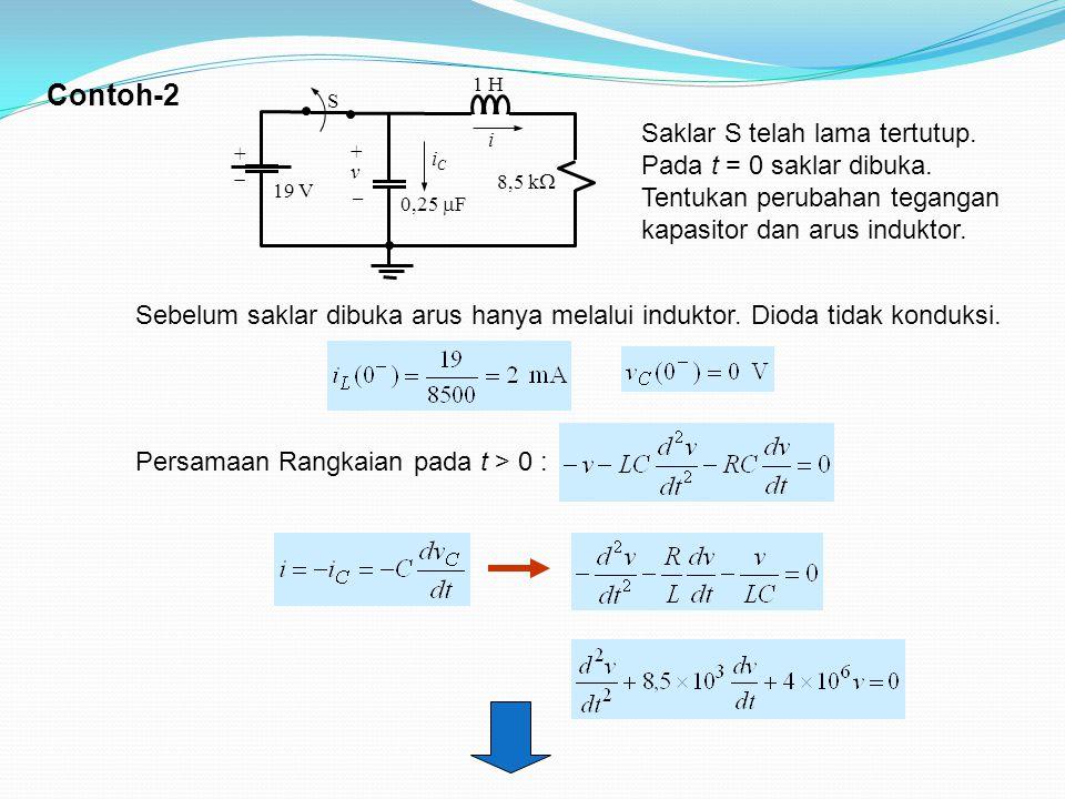 Contoh-2 + v.  iC. 0,25 F. 19 V. 8,5 k i. 1 H. S.
