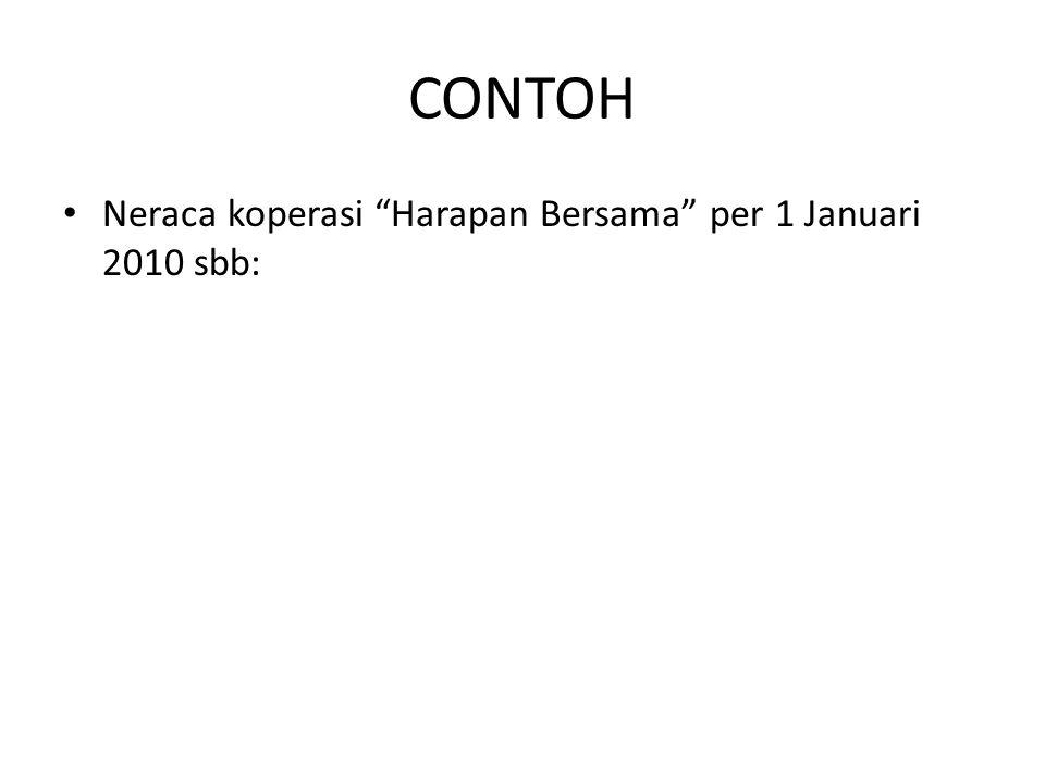 CONTOH Neraca koperasi Harapan Bersama per 1 Januari 2010 sbb: